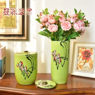 Murphy jingdezhen hand-painted ceramic vase furnishing articles new Chinese creative storage tank caddy candy jar