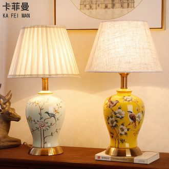 Ceramic lamp American bedroom living room study of new Chinese style restoring ancient ways European - style decorative lamps and lanterns is I warm bedside lamp