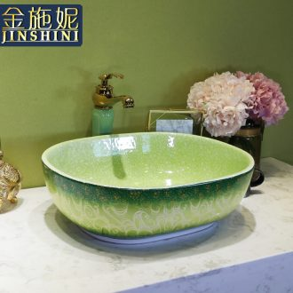 On the ceramic bowl for wash gargle lavabo household elliptic green art basin bathroom sinks basin