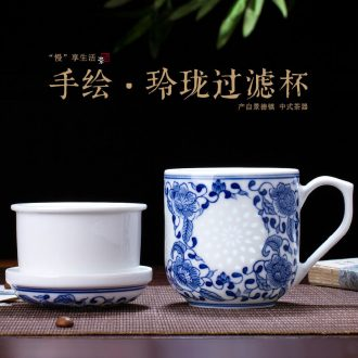 Jingdezhen blue and white and exquisite painting creative hand - made ceramic cup men 's and women' s cup tea service office cup gift porcelain