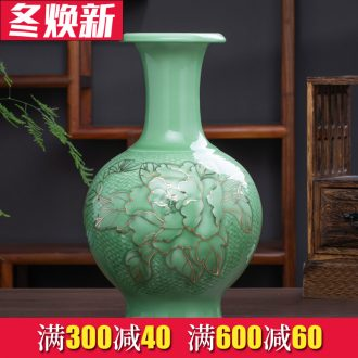 Jingdezhen ceramics hand - made paint peony vases, flower arranging Chinese style living room rich ancient frame furnishing articles home decoration