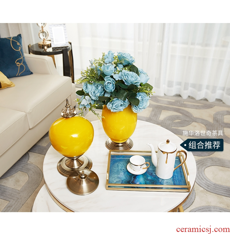 Jingdezhen blue and white ceramics vase of large hotel opening Chinese flower arranging sitting room adornment office furnishing articles - 550602279290