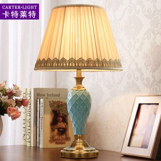 The Desk lamp of bedroom the head of a bed American simple ceramic study move fashionable sitting room warm romantic wedding remote control lamps and lanterns