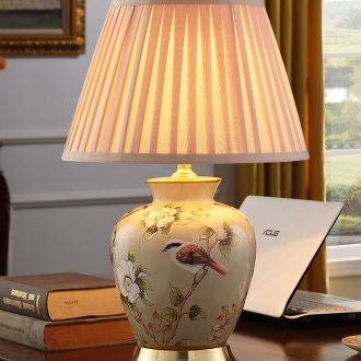 American contracted ceramic desk lamp sitting room after classical European - style key-2 luxury villa hotel atmosphere all copper lamp of bedroom the head of a bed