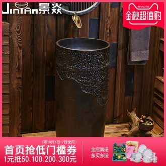 JingYan retro art pillar basin ceramic column type lavatory floor sink vertical integration the sink