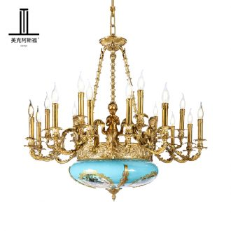 French romantic full copper ceramic chandeliers key-2 luxury European - style villa palace restoring ancient ways is full copper sitting room dining - room droplight
