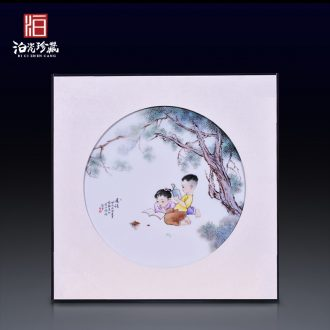 Jingdezhen ceramics hand-painted morning reading porcelain plate painter new Chinese style sitting room adornment bedroom wall hanging in furnishing articles