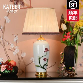 Ou all copper colored enamel lamp bedside lamp American contracted sitting room bedroom luxury villa ceramic decoration lamp