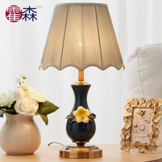 European small desk lamp lamp of bedroom the head of a bed in the sitting room is contracted and I American creative fashion warm marriage room ceramic lamp