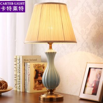 Ceramic lamp American bedroom berth lamp creative fashion warm warm light I and contracted remote marriage room decoration