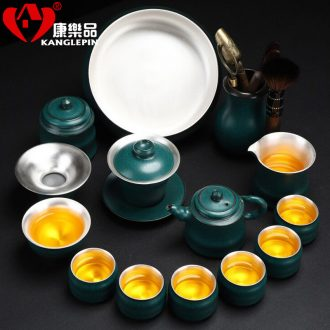 Recreational product kung fu tea set suit household of Chinese style porcelain stone tiexianwen open piece of ceramic tea cup lid bowl