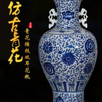 Jingdezhen ceramics have the blue and white big vase furnishing articles archaize crack classical Chinese style living room floor decoration