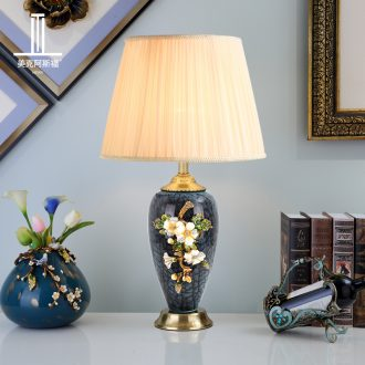 Luxury colored enamel porcelain lamp type full copper individuality creative sitting room lamps and lanterns of bedroom the head of a bed lamp act the role ofing villa