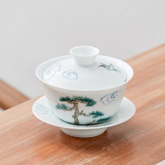 Qiu time ceramic kung fu tea set hand - made tureen tea bowls white porcelain cups three bowl to bowl hand grasp to use contracted