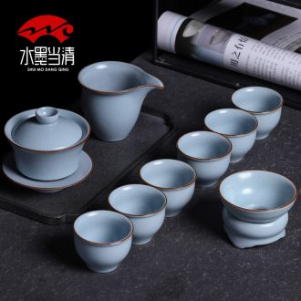 Kung fu tea set suits your kiln slicing can raise the ice crack household jingdezhen ceramic tureen office tea cups