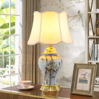 American general contracted sitting room tank jingdezhen ceramic desk lamp new classic full copper bedroom berth lamp study hand - made