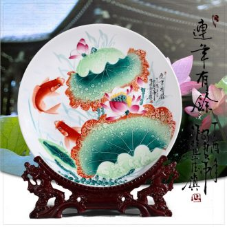 Jingdezhen ceramics hand - made hang dish decoration plate of modern Chinese style living room home wine gift furnishing articles