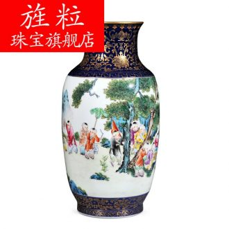 Cn jingdezhen imperial kiln chinaware blue colour imitation qing qianlong offering baby play gourd vases, the sitting room decorate household