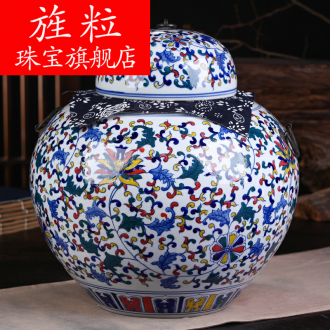 Continuous grain of jingdezhen ceramic POTS of tea pot, box seal storage tank of blue and white porcelain household