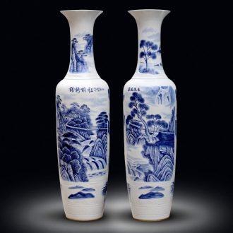 Jingdezhen landing big hand blue and white porcelain vase sitting room adornment porch hotel ceramics large furnishing articles