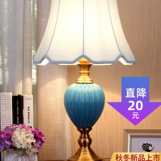 Villa hotel ceramic desk lamp European - style bedroom berth lamp example room sitting room of modern Chinese style blue north of the Mediterranean Sea
