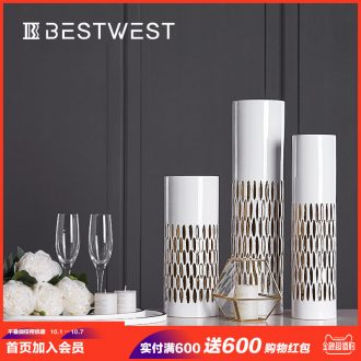 Light the luxury of ceramic vase large north European household adornment flower implement furnishing articles home sitting room dry flower flower decoration