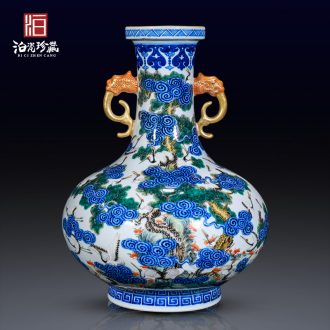 The Spring of jingdezhen blue and white ceramics colored enamel the crane with decorative flower vases, collection of Chinese style household furnishing articles