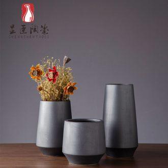 Jingdezhen contracted ceramic vases, black flower arranging furnishing articles zen bedroom adornment of I sitting room dry flower vase