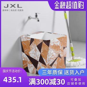 Mop basin ceramic marble trumpet mop mop pool water faucet rectangular floor mop basin bathroom balcony