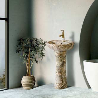 Ceramic washbasin marble columns basin vertical household balcony toilet lavabo xian ground contracted small family