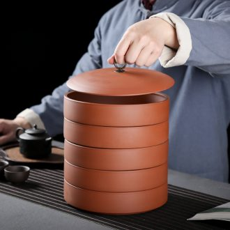 JiaXin household violet arenaceous caddy fixings ceramic tank sealing tank receives puer tea box to receive tea cake box