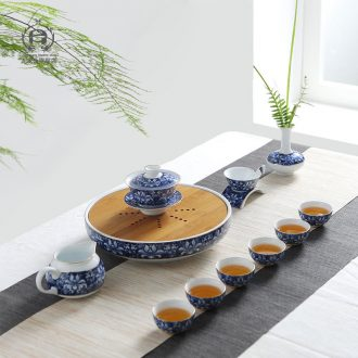DH jingdezhen kung fu tea set suit household water storage of a complete set of tea tray ceramic simple blue and white porcelain teapot teacup
