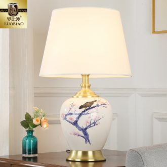 New Chinese style lamp bedroom nightstand creative ceramic restoring ancient ways study sweet household energy - saving control table lamp
