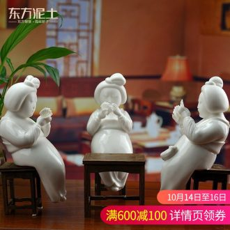 Oriental soil dehua white porcelain ceramic its craft decorations home sitting room place furnishing articles/D44-24