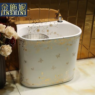 Art creative move toilet wash mop pool ceramic balcony household continental basin of rotating double drive
