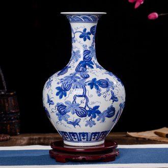 Jingdezhen ceramics antique blue and white porcelain vases, flower, modern home sitting room TV ark, crafts