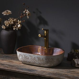 Hand - carved ceramic square basin stage basin art restores ancient ways the balcony the lavatory toilet lavabo household
