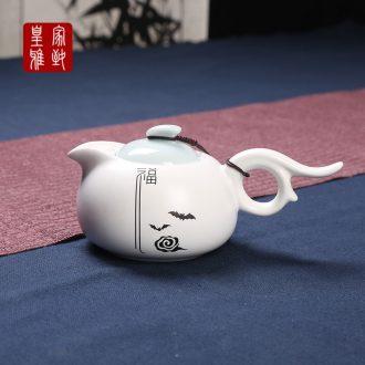 Royal refined up ceramic teapot 5 applique color ink fat white teapot kung fu tea set item teapot