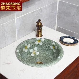 Nordic retro ceramic art basin half embedded lavabo household taichung creative lavatory round Europe type