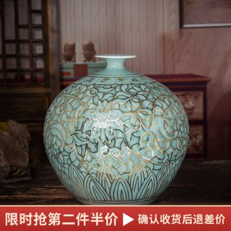 The Master of jingdezhen ceramics hand - made paint shadow blue bottle of flower arranging Chinese style household furnishing articles sitting room porch decoration