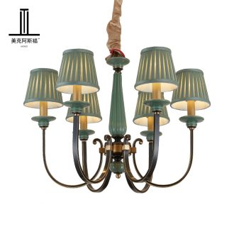 The copper pendant sitting room dining - room lamp European contracted study bedroom light pure copper ceramic lamps and lanterns of key-2 luxury villas