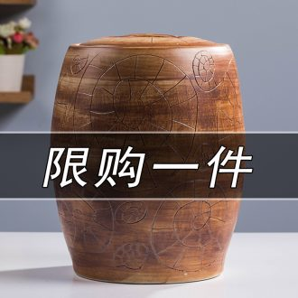 Jingdezhen ceramic barrel with cover seal meters pot home small 10 jins insect-resistant moistureproof ricer box meter box seal storage