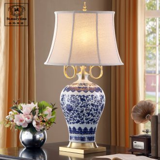 Santa marta tino new three full arm the cooper see colour blue and white porcelain ceramic desk lamp large villa