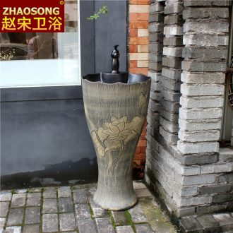 Ancient Chinese ceramics one-piece floor pillar lavabo toilet lavatory sink outdoor balcony