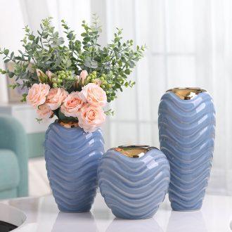 American light key-2 luxury modern Nordic golden vases, ceramic flower arrangement luxurious sitting room porch TV ark, home furnishing articles
