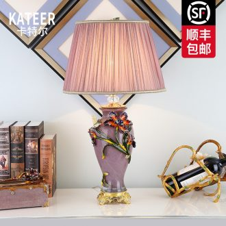 Cartel type colored enamel lamp sitting room key-2 luxury villa high - grade atmosphere ceramic lamp of bedroom the head of a bed