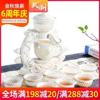 Besides beautiful pavilion contracted lazy household kung fu tea set tea ware ceramic teapot semi automatic restoring ancient ways