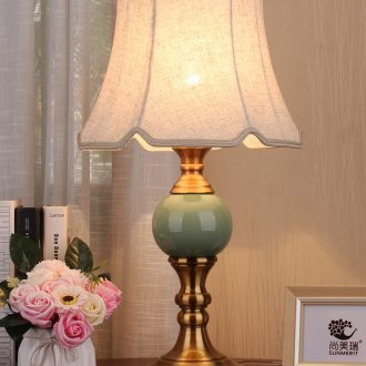 Contracted American desk lamp light ceramic new Chinese style classical decoration cloth art of bedroom the head of a bed lamp remote control dimmer
