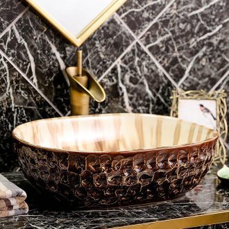 Stage basin oval ceramic basin bathroom decoration of Chinese style restoring ancient ways of creative art toilet lavabo basin
