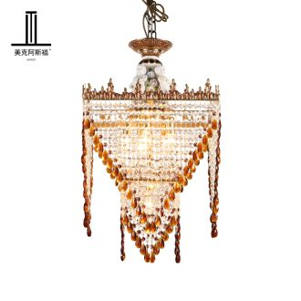 French full copper crystal droplight ceramic european-style luxury villa living room bedroom corridor restaurant study porch stairs